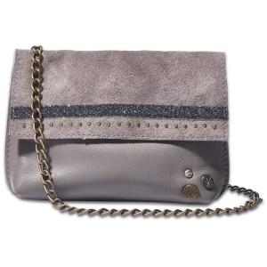 Вечерняя сумочка с кристаллами Swarovski серая