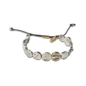 Браслет Индиго «Галька металлическая» серебряный