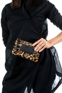 Мини-сумочка меховая леопардовая