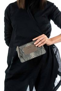 Мини-сумочка «Искушение» с питоновым принтом серая