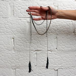 Ожерелье Летнее солнцестояние с бахромой серое